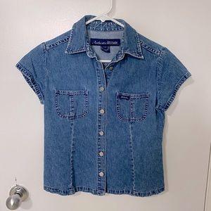 Vintage denim short sleeve button down top